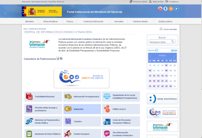 Calendario Financiero 2019.Calendario De Informes De Naturaleza Economica Clasificados